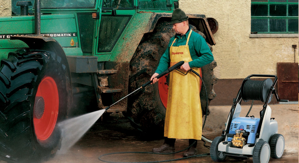 Pressure Washing a Tractor
