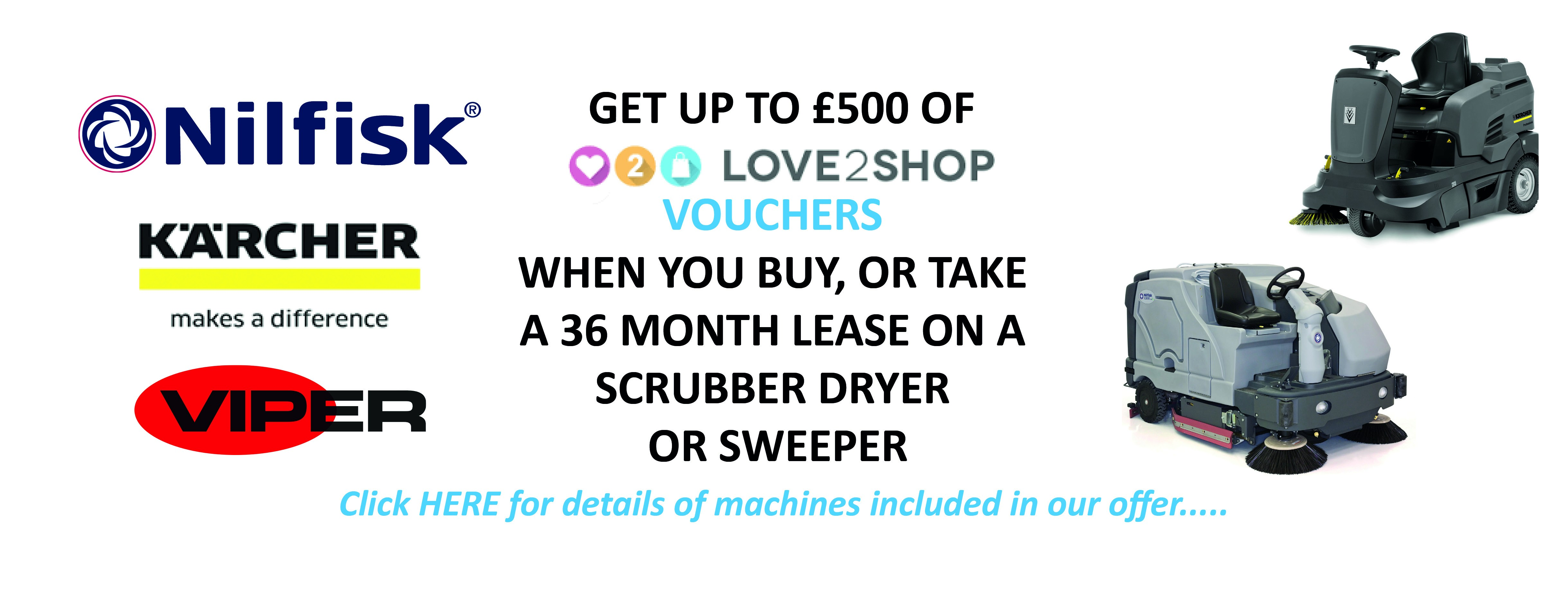 Get up to £500 of Love 2 Shop Vouchers when you buy or long term hire floor cleaning equipment